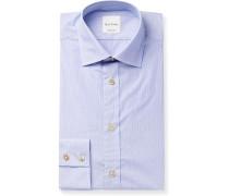 Slim-Fit Cutaway-Collar Striped Cotton-Poplin Shirt