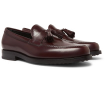 Polished-leather Tasselled Loafers - Burgundy