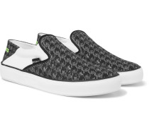 Collapsible-heel Checkerboard Canvas Slip-on Sneakers