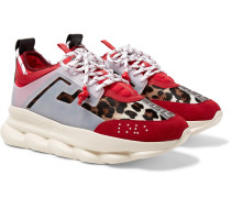 Chain Reaction Panelled Calf Hair, Rubber And Suede Sneakers - Red