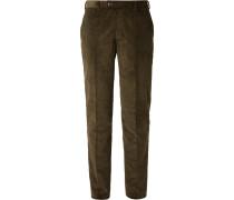 Olive-Green Slim-Fit Cotton-Corduroy Suit Trousers