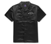 + Motown Records Camp-Collar Logo-Embroidered Satin Shirt