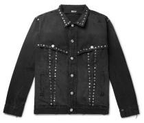 Studded Distressed Denim Jacket