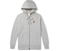 + Drake's Logo-Embroidered Loopback Cotton-Jersey Zip-Up Hoodie