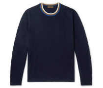 Slim-Fit Stripe-Trimmed Virgin Wool and Cashmere-Blend Sweater