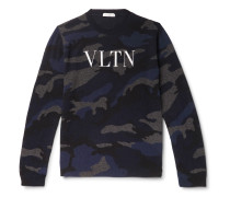 Logo-Painted Camouflage-Intarsia Cashmere Sweater