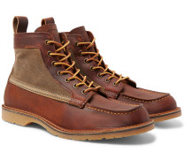 Wacouta Leather And Waxed-cotton Boots - Brown