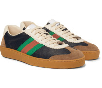 Jbg Webbing-trimmed Leather And Suede Sneakers - Navy
