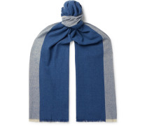 Fringed Colour-Block Baby Cashmere Scarf