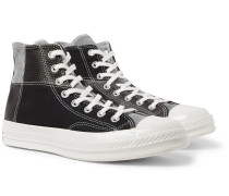 1970s Chuck Taylor All Star Patchwork Leather, Corduroy And Twill High-top Sneakers - Black