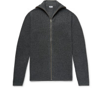 Jonah Slim-Fit Mélange Wool and Cashmere-Blend Zip-Up Cardigan