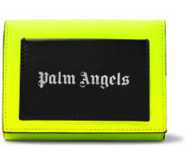 Neon Colour-Block Printed Leather Trifold Wallet