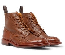 Stow Burnished Textured-leather Brogue Boots - Brown