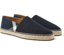 Checked Canvas Espadrilles - Navy