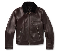 Slim-Fit Shearling-Trimmed Full-Grain Leather Jacket