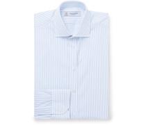Blue Cutaway-Collar Striped Cotton-Poplin Shirt
