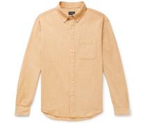 Button-Down Collar Textured Cotton and Linen-Blend Shirt