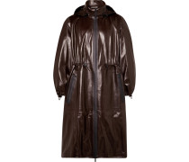 Leather Hooded Coat