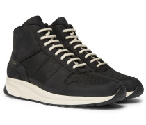 Track Vintage Nubuck And Mesh High-top Sneakers - Black
