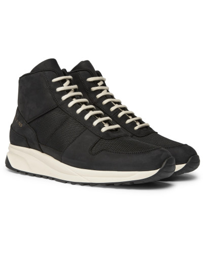 Track Vintage Nubuck And Mesh High-top Sneakers - Black