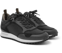 Radial Leather And Suede-trimmed Mesh Sneakers - Black