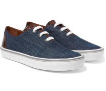 Leather-trimmed Denim Sneakers