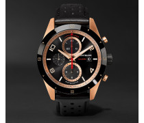 Timewalker Automatic Chronograph 43mm 18-karat Red Gold, Ceramic And Leather Watch - Black