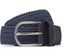 3.5cm Navy Leather-trimmed Woven Elastic Belt - Blue
