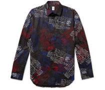 Scritto-print Mulberry Silk-twill Shirt - Black