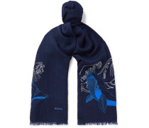 Embroidered Wool-twill Scarf - Navy