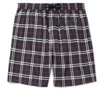 Mid-length Checked Swim Shorts - Navy