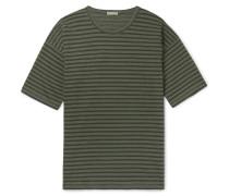 Striped Cotton-jersey T-shirt - Green