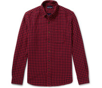 Button-down Collar Gingham Double-faced Cotton-flannel Shirt