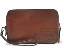 Profil Scritto Zip-around Leather Pouch - Brown