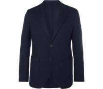 Navy Slim-fit Unstructured Herringbone Virgin Wool Blazer