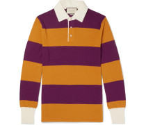 Embroidered Striped Wool Polo Shirt