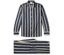 Henry Piped Striped Cotton-Poplin Pyjama Set