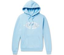 Logo-Print Garment-Dyed Loopback Cotton-Jersey Hoodie