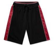 Wide-leg Matte Satin-panelled Cotton-blend Jersey Shorts - Black