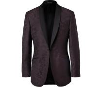 Plum Slim-fit Camouflage Wool-jacquard Tuxedo Jacket