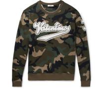 Appliquéd Camouflage-print Loopback Cotton-jersey Sweatshirt