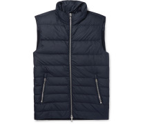 Slim-fit Shell And Ribbed Wool-blend Down Vest