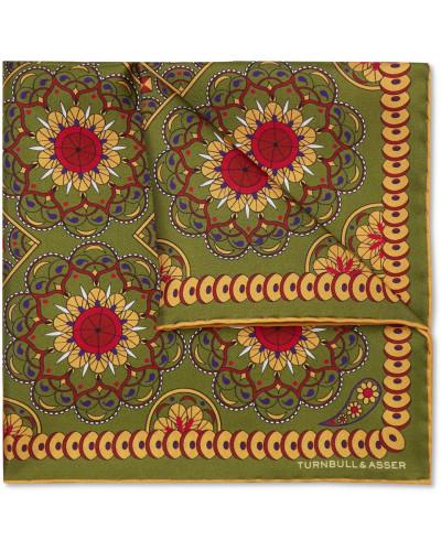 Printed Silk-twill Pocket Square - Green
