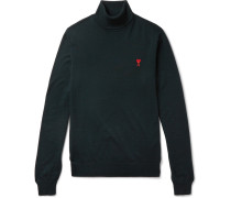 Slim-fit Logo-embroidered Merino Wool Rollneck Sweater