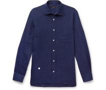 Slim-fit Cutaway-collar Linen Shirt