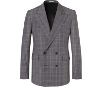 Grey Kipling Double-breasted Checked Wool Suit Jacket - Gray