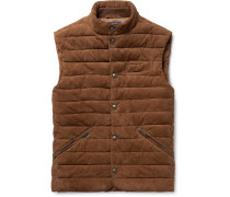 Slim-fit Quilted Suede Gilet - Brown