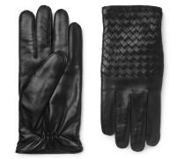 Cashmere-lined Intrecciato Leather Gloves - Black