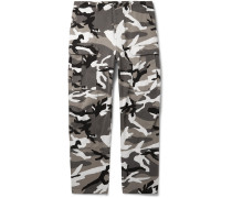 Slim-fit Camouflage-print Cotton-twill Cargo Trousers - Gray