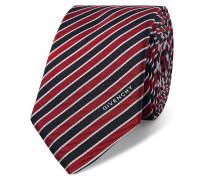 6.5cm Striped Silk Tie - Red